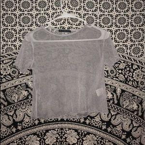 Brandy Melville Tops - Brandy mesh clear shirt! + red velvet bra